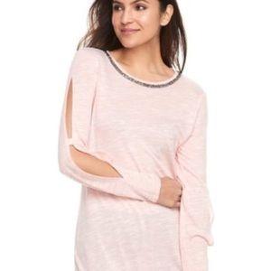 Juicy Couture Pink Split Sleeve Embellished Top